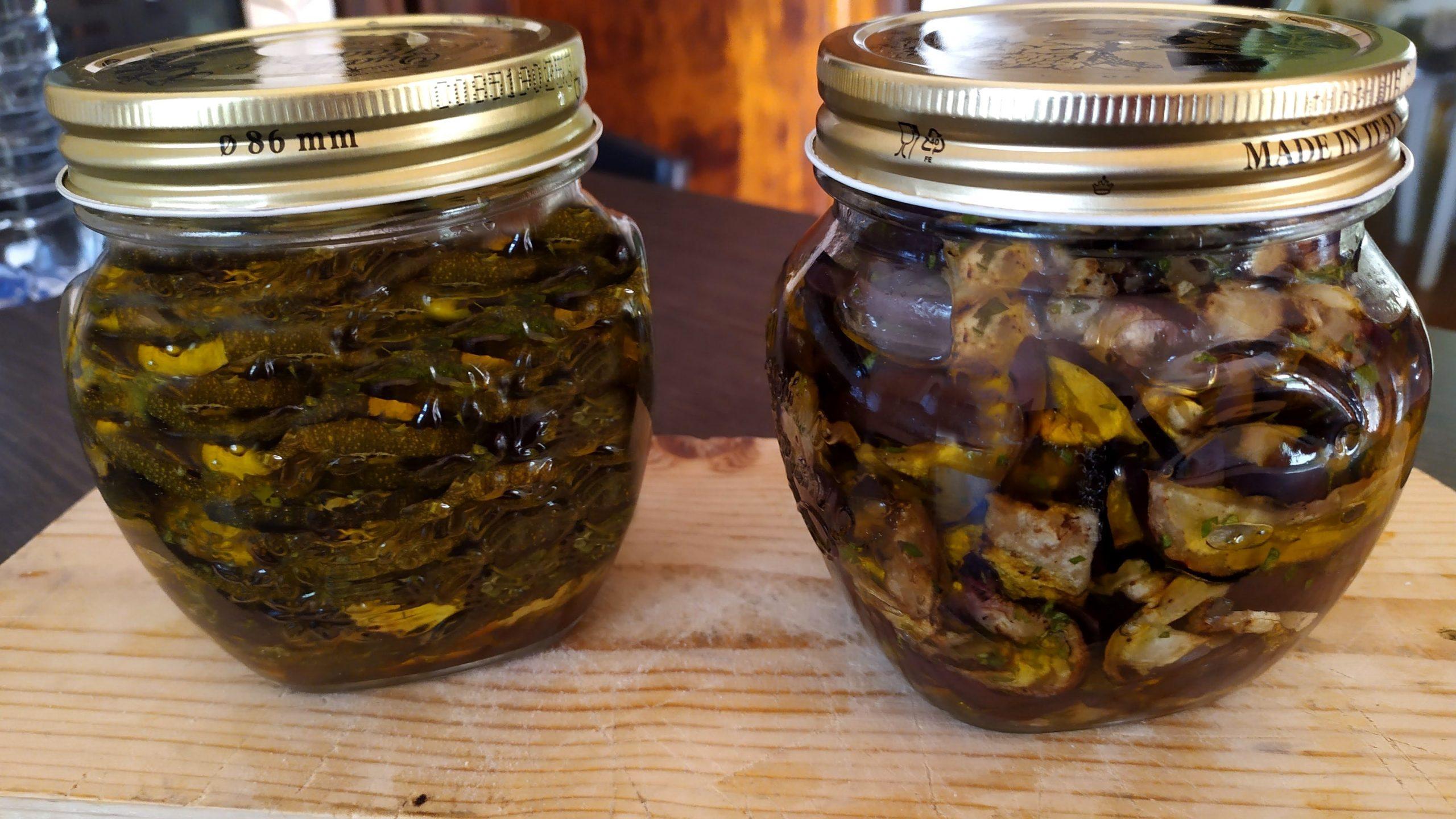 Melanzane e zucchine grigliate sott'olio
