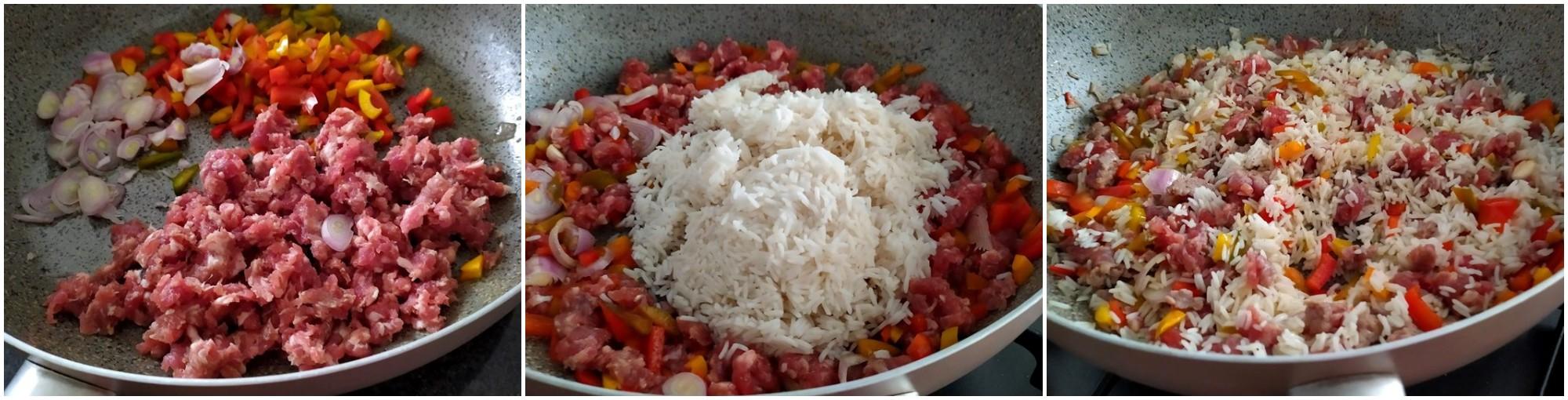 Peperoni al forno con riso e salsiccia